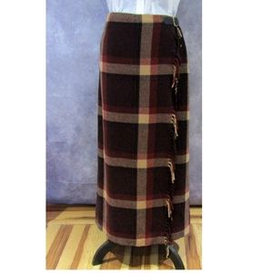 Eddie Bauer Wool Blend Blanket Wrap Skirt Fringe 6